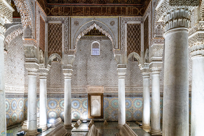 Saadian tombs displayed with Islamic features and colors.