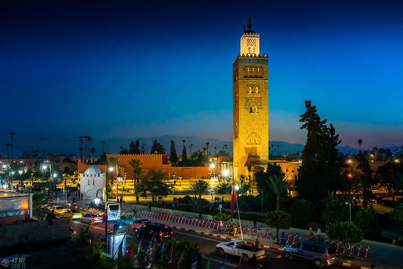 Koutoubia Mosque lit up at night