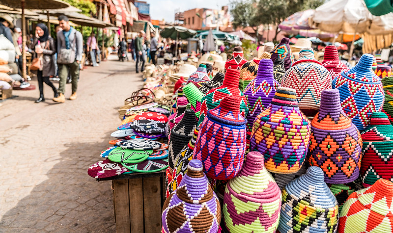 Unusual family holiday ideas can take you to unique places. These colorful woven baskets are in a local outdoor market.