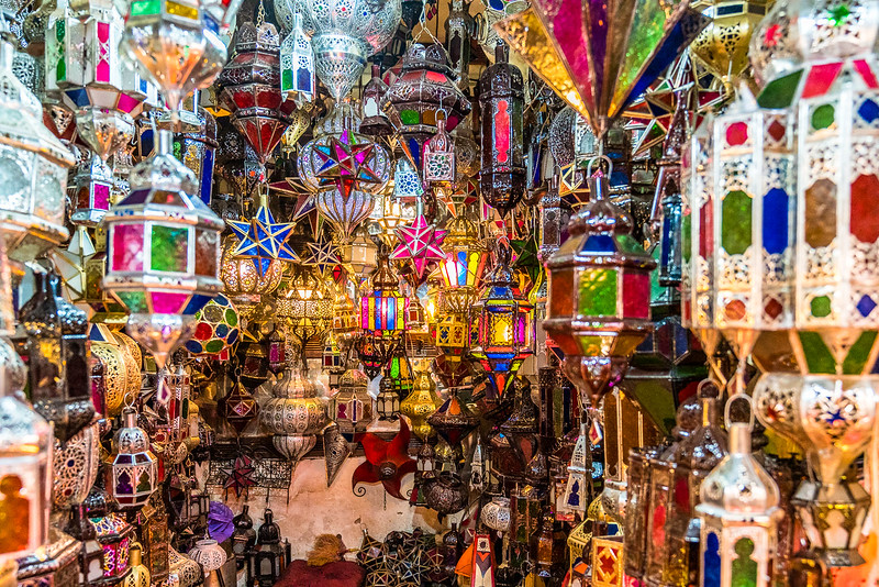 Colorful iron and glass lanterns available in the Medina.