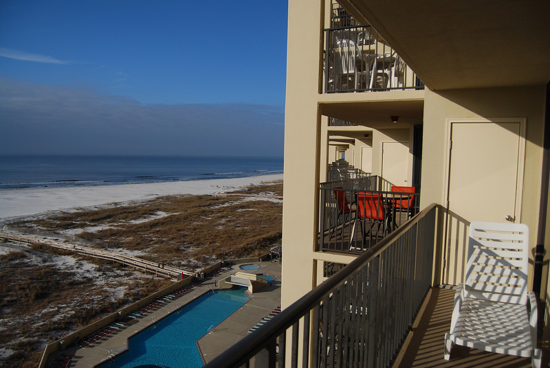 It is mid January 2010 - looking west from our balcony; the white stuff is sand. :)<br /> First a tour of our unit and the complex.
