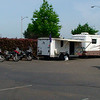 """Support vehicle and bikes awaiting riders in Potland, OR <a href=""""http://bit.ly/northtoak"""">http://bit.ly/northtoak</a>"""