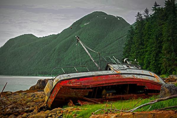 Beached boat at Petroglyphs Beach, Wrangell, AK, #0407