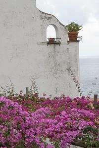 The bright colors of the Bouganvilles grace the coast of Positano