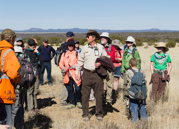 BLM Ranger Paul Yoder and hikers.