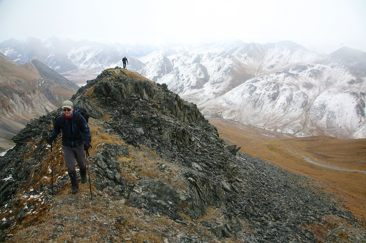 Oliver and Mark negotiate an amazing ridge above the Hulahula River - Arctic National Wildlife Refuge