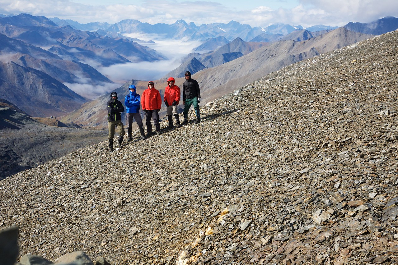 Our crew at the 7000' pass between the Jago & Hulahula Rivers - Arctic National Wildlife Refuge