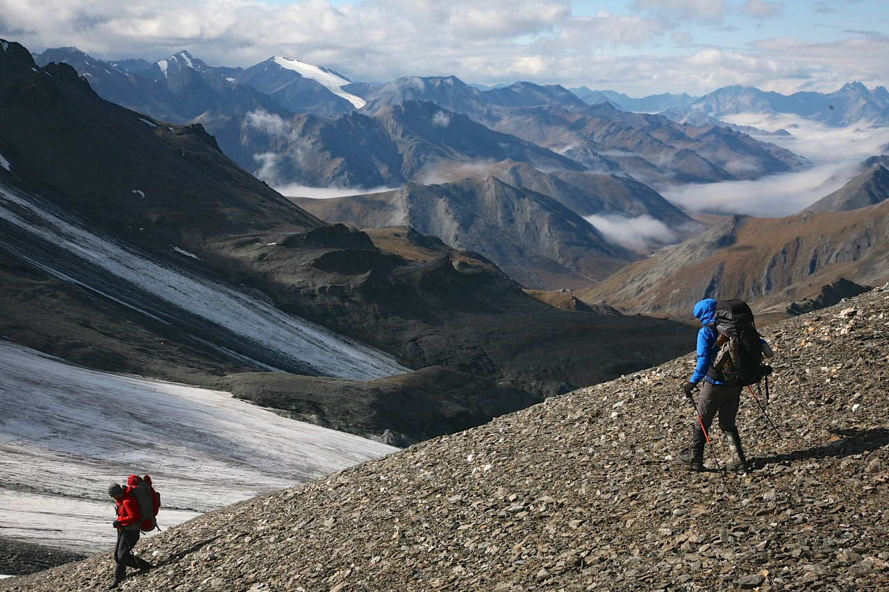 Mark & Oliver begin the descent from the pass - Arctic National Wildlife Refuge