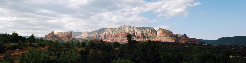 Panoramic of the red rock formations surrounding Sedona, Arizona.