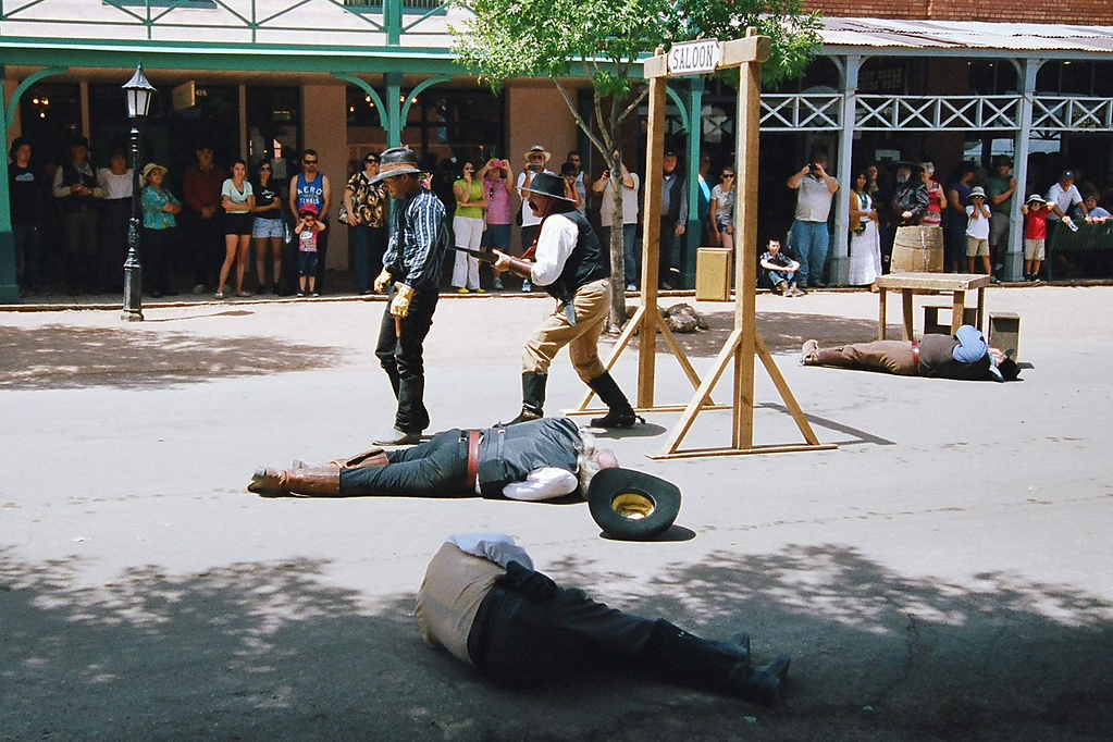 On our way home, we stopped over in Tombstone, Arizona. As it turned out they were re-enacting in the streets!