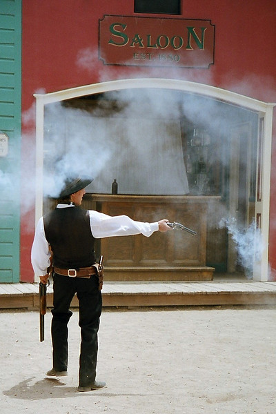 Photos from the re-enactment of the Shootout at the OK Corral. This is Doc Holliday. Tombstone, Arizona. May 2013.
