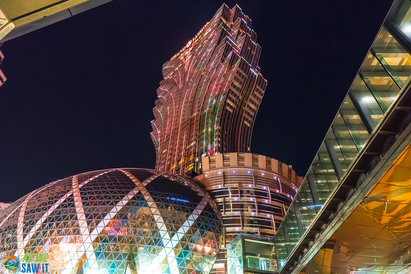 Colorful casino's lit up at night in Macao