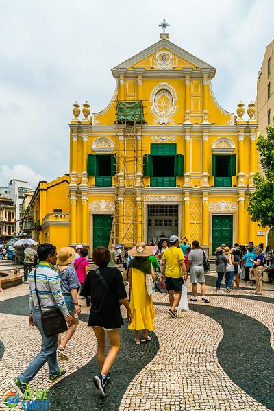 Yellow and green facade of St Dominic Church Macau