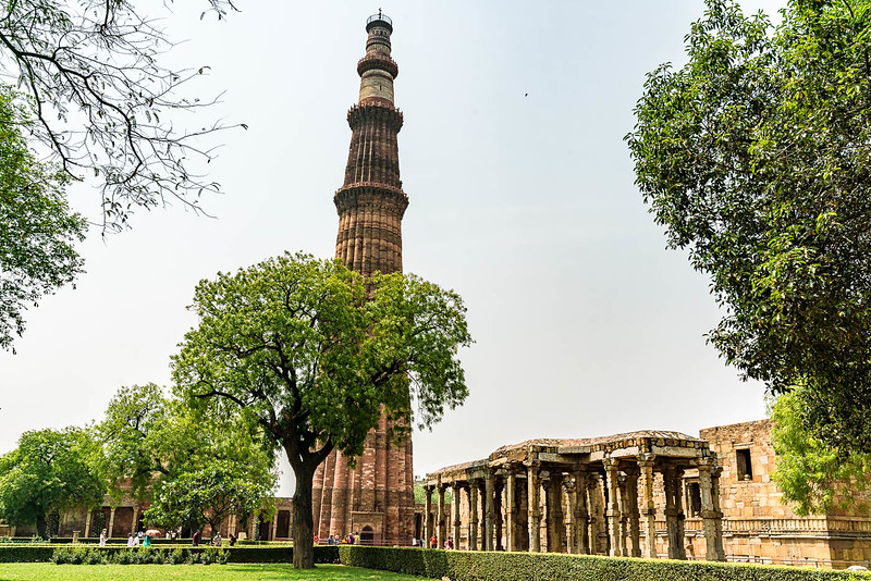 Qutb Minar in Delhi, home of an ancient iron pillar that has never rusted.