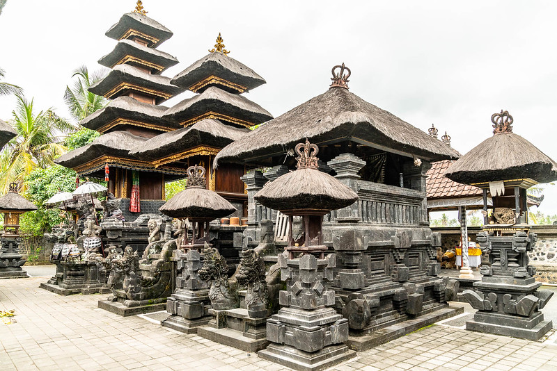 Inside Pura Masceti complex with beautiful Balinese architecture.