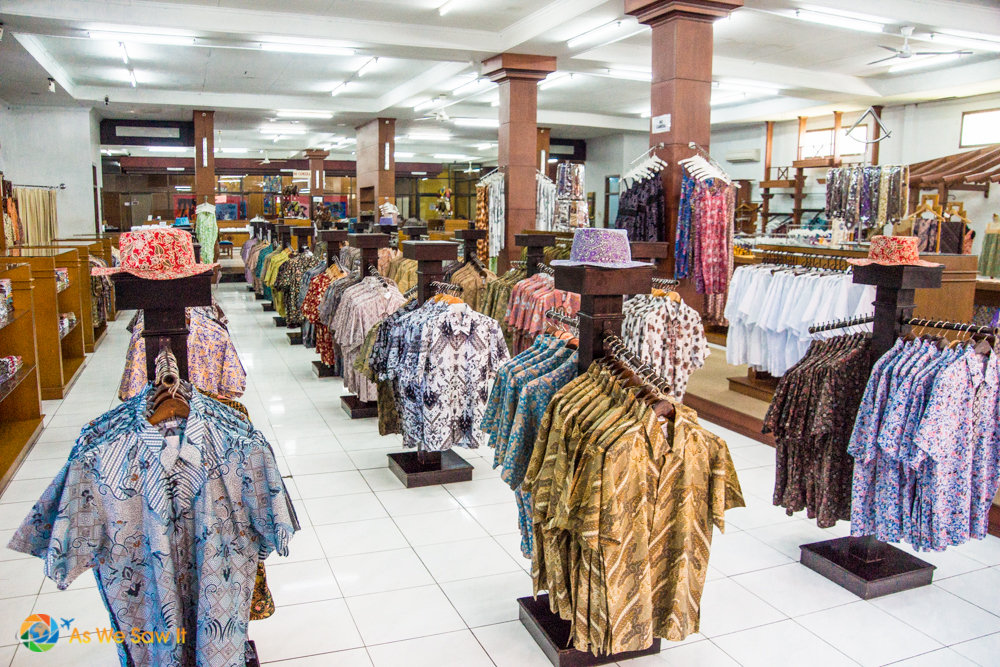 One of many Batik shopping stores in Bali, where shopping is enjoyed.
