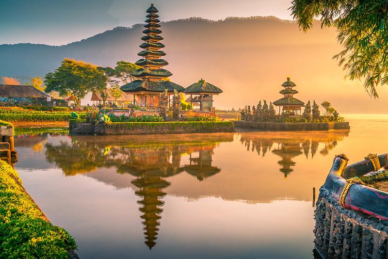 Dawn at Ulun Danu Beratan on Lake Bratan. This is our favorite of the 9 directional temples in Bali