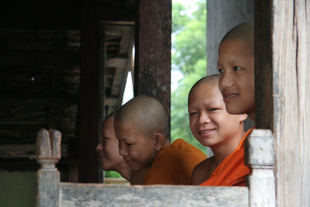 Young monks relaxing at the temple.