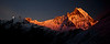 """Fading Light on Machhapuchhare VI""<br /> <br /> Ah, the end of the day in the high Himalaya, and the joy to see the peaks turn crimson one by one, with the highest ones getting the last glow. This is Machhapuchhare (also known as Fishtail, due to the way the peak looks when viewed from the south), one of Nepal's sacred peaks and one of the world's most prominent unclimbed peaks for that reason. The photograph was taken from Annapurna Base Camp on a perfect evening in the mountains. Machhapuchhare, Nepal."