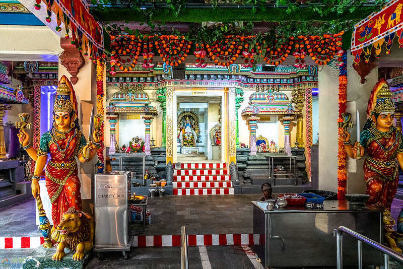 Main temple worshippe area inside Sri Mariamman Temple