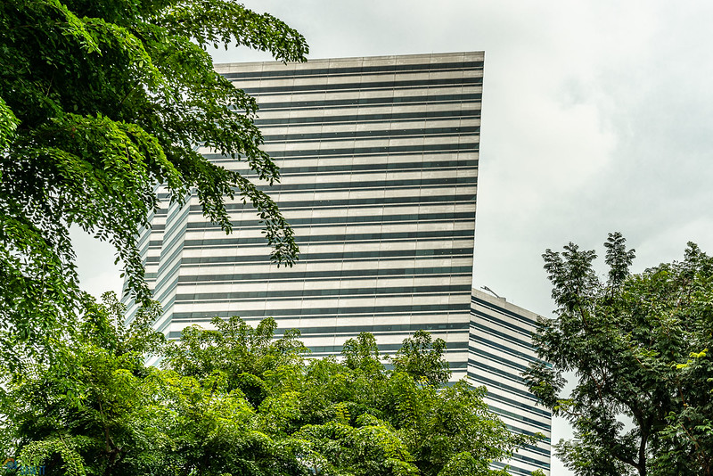 Ground-level view of the upper levels of The Gateway Singapore. Overcast sky in background and tree leaves in upper left and bottom right corner.