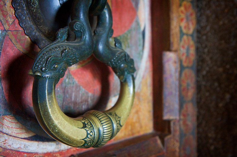 Fish door knocker at the stone temple