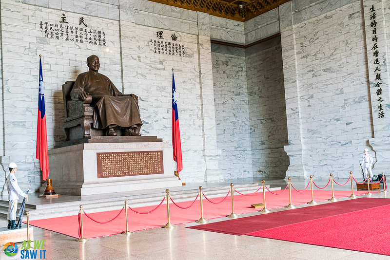 Chiang Kai Shek memorial hall. There are two motionless honor guards on each side of his statue.