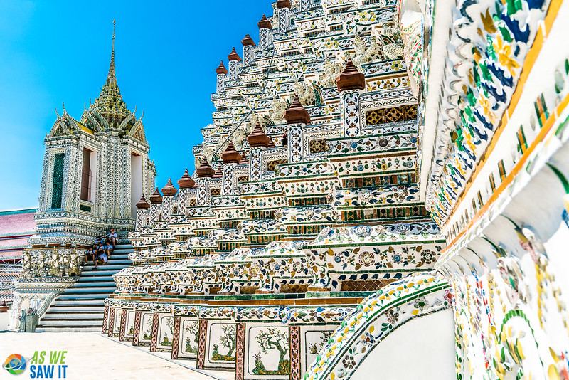 Wat Arun also known as the temple of dawn with colorful porcelain tiles