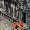 Contrast in colors<br /> Monks at Angkor Wat, Siem Reap, Cambodia