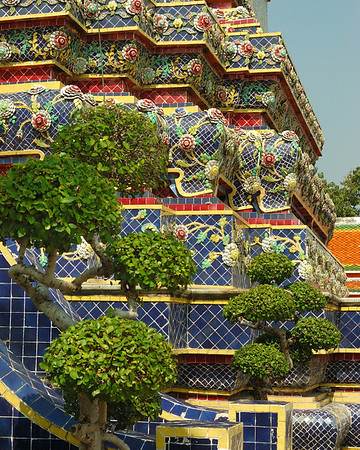 The Royal Temple in Bangkok has a mindblowing mix of tile and glittering gold trim, but it also has enough greenery to keep it grounded in the real world.