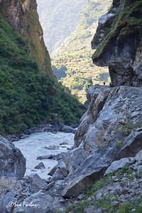 Incredible engineering with the road cut into the mountain, near Khorte, Annapurna Circuit, Nepal
