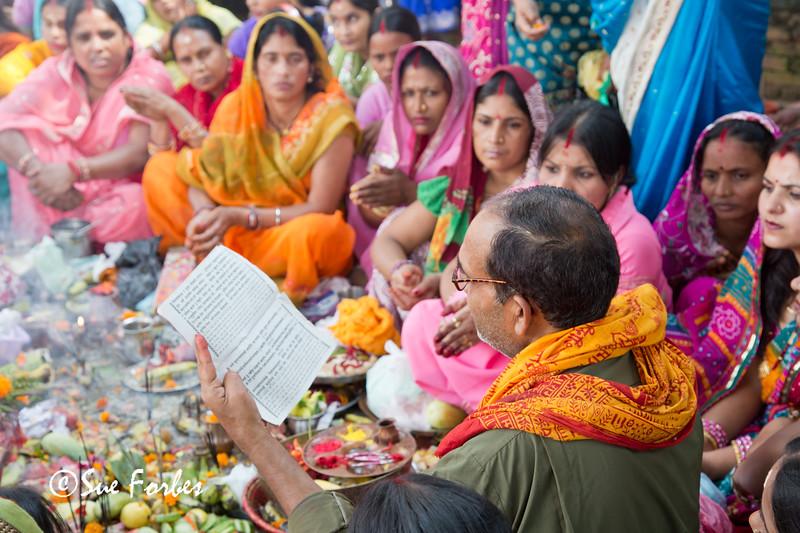 Religious leader teaching, Durbar Square, Kathmandu, Nepal