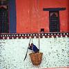 Paro Dzong<br /> Cleaning Paro Dzong walls, Bhutan