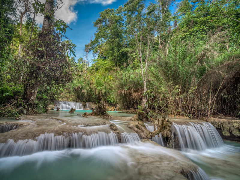 Landscape of small waterfalls at Kuang Si