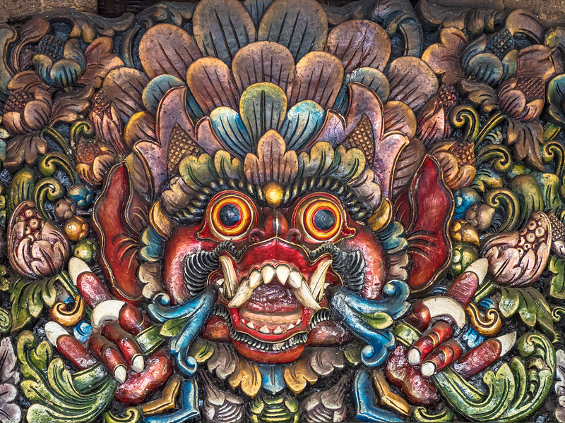 Colorful wood carving