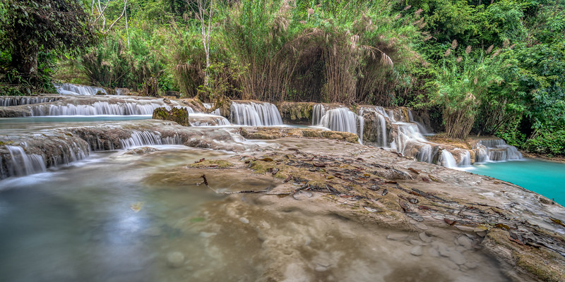 Water flowing over rock at Kuang Si