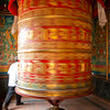 Giant prayer wheel at Bodhnath, Kathmandu Valley, Nepal