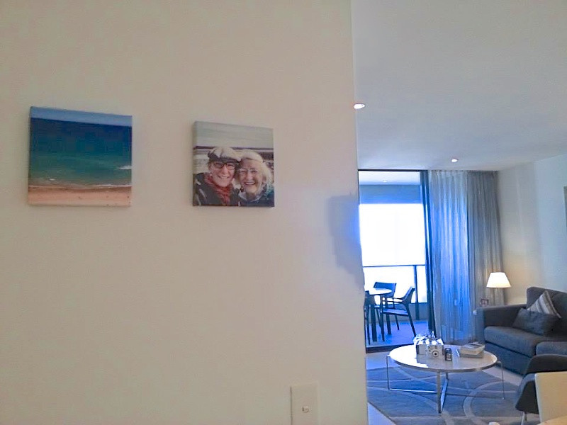 Images of my mom and me up on the wall