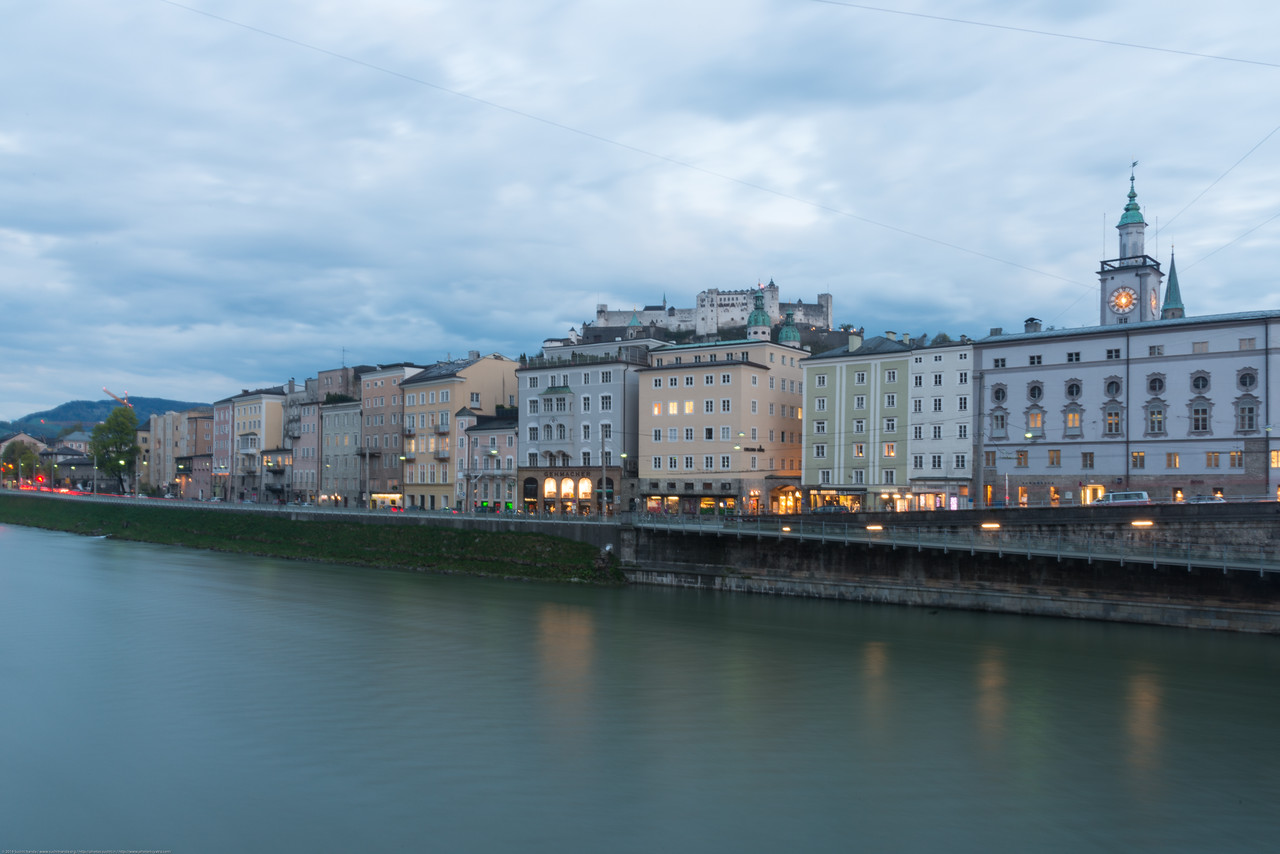 Golden hour in the city of Salzburg, Austria.