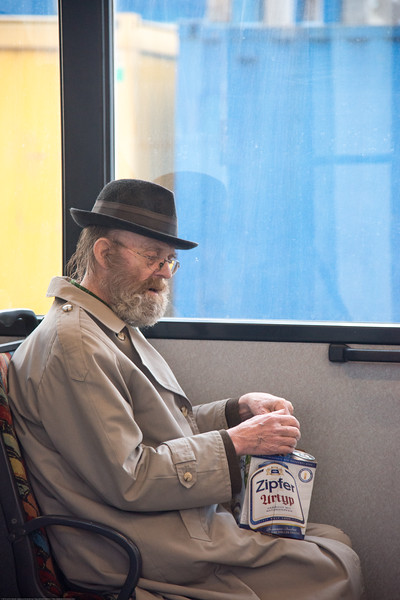 Old gentleman in the bus in Salzburg, Austria.