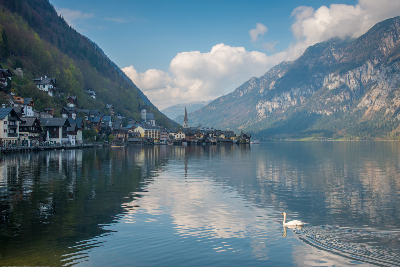 View of Hallstatt from south.<br /> Hallstatt, Upper Austria, is a village in the Salzkammergut, a region in Austria. It is located near the Hallstätter See.