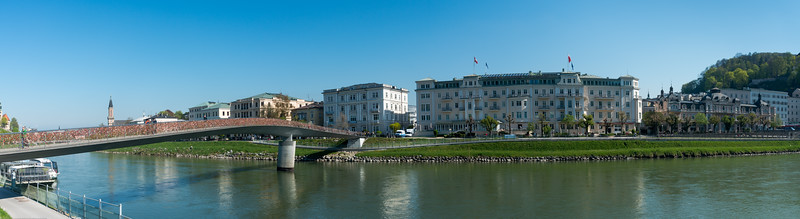 Panoramic view near Makartsteg bridge (Love Lock Bridge) over Salzach.<br /> <br /> The Salzach is the main river in the Austrian state of Salzburg. The source is located on the edge of the Kitzbühel Alps near Krimml in the western Pinzgau region.