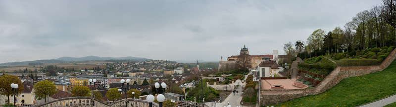 Panoramic view at Melk, enroute Hallstatt, Austria. Melk is a city of Austria in the federal state of Lower Austria, next to the Wachau valley along the Danube. It is best known as the site of a massive baroque Benedictine monastery named Melk Abbey.