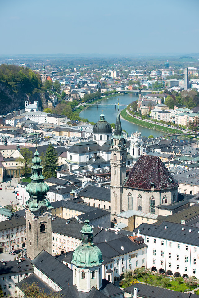 View from Hohensalzburg Castle which sits atop the Festungsberg, a small hill in the Austrian city of Salzburg. Erected at the behest of the Prince-Archbishops of Salzburg. Salzburg, Austria.