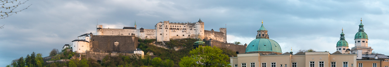 Panoramic view of Salzburg in the late evening hours.