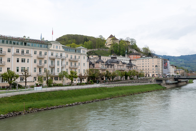 View from Makartplatz Bridge (Love Lock Bridge), Salzburg, Austria.