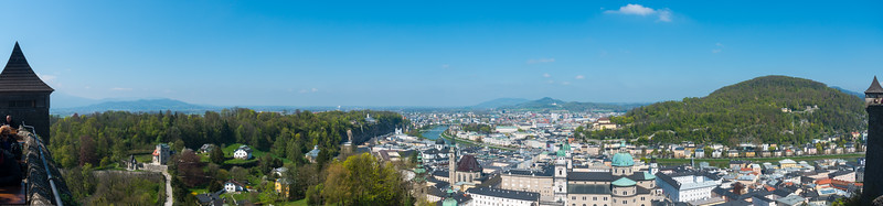 Salzburg panorama as seen from the Hohensalzburg Castle.
