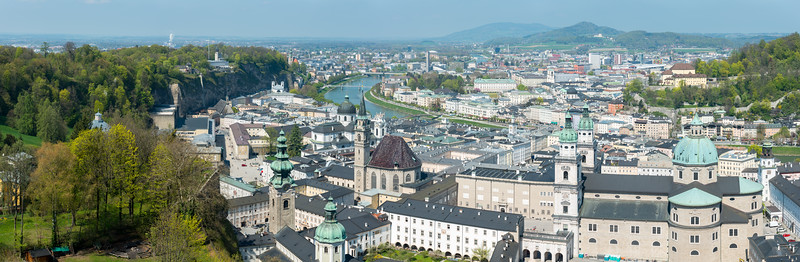 Panoramic Salzburg, Austria viewed from the Festung Hohensalzburg.