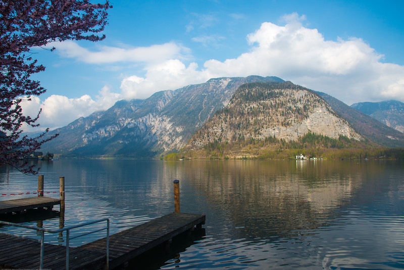 Lake view at Hallstatt.<br /> Hallstatt, Upper Austria, is a village in the Salzkammergut, a region in Austria. It is located near the Hallstätter See.