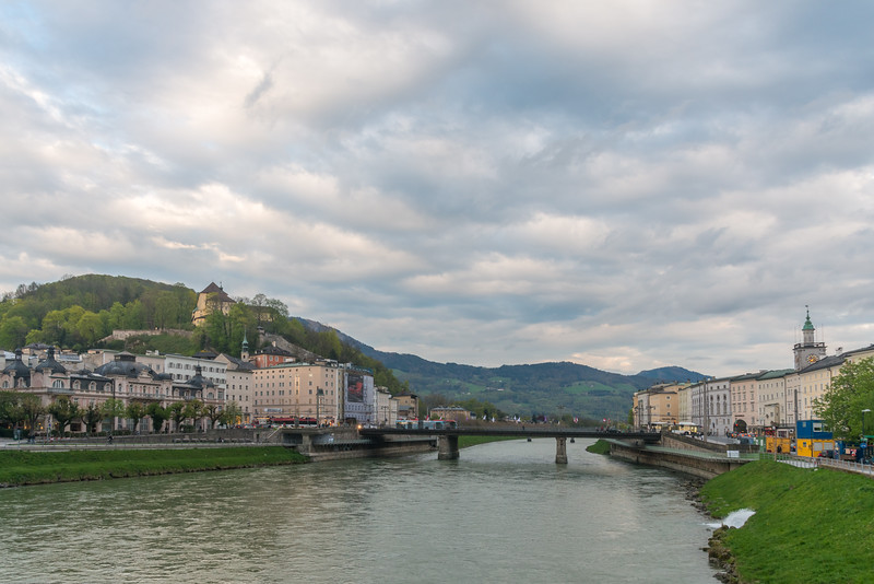 Evening light over the river Salzach in Salzburg, Austria.